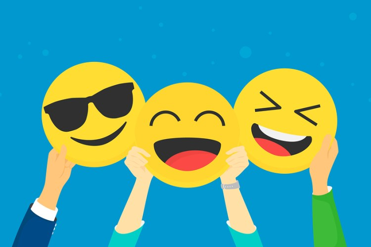 emojis being held up by insurance agents, blue background