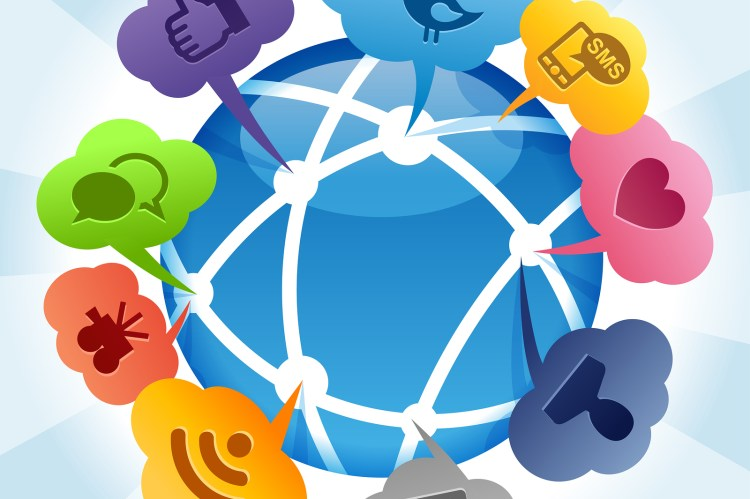 social media bubble icons sprouting out of a globe