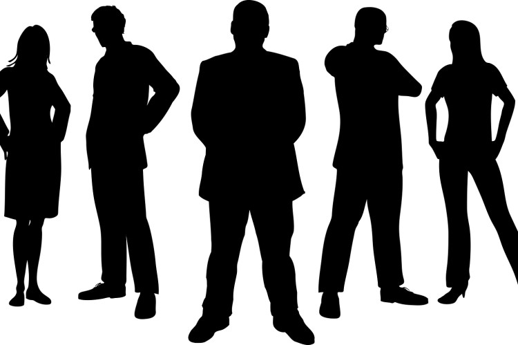 Silhouettes of young and new insurance agents