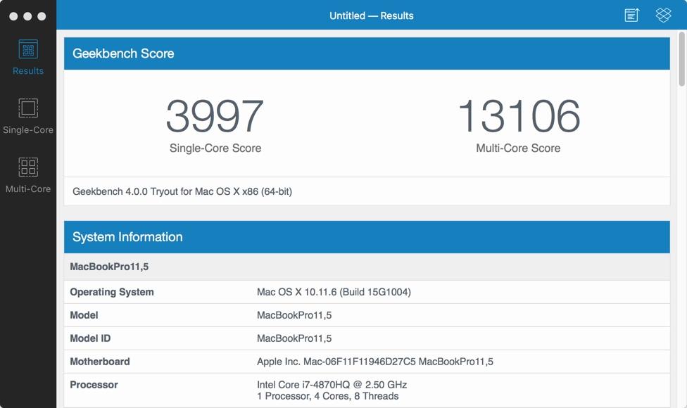 用Geekbench測試macOS虛擬機的性能 - MINIRPLUS