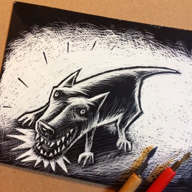 Drawing, scraping board, Miwer, illustration, B&W