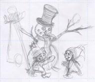 Arbejdsskitse af snamanden - Study sketch of the Snowman