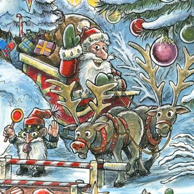 Uddrag fra julemærket 2017. Julemanden ankommer - Excerpt from the Christmas stamp Sheet 2017. Santa Claus Arrives