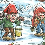 Uddrag fra julemærket 2017. Nisser henter vand i den gamle brønd - Excerpt from the Christmas stamp Sheet 2017. An elf fetches water from the old Well