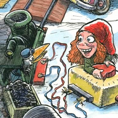 Uddrag fra julemærket 2017. En nissepige leger med modeltog, eller? - Excerpt from the Christmas stamp Sheet 2017. An elf is playing around with the model trains, or is she?