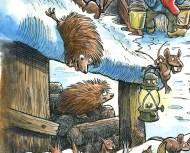 Uddrag fra julemærket 2017. To glade pindsvin - Excerpt from the Christmas stamp Sheet 2017. Two happy hedgehogs