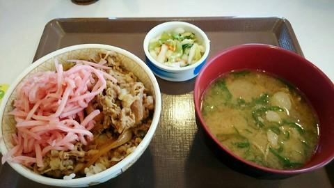 すき家、牛丼並盛りと豚汁おしんこセット=490円w