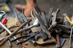 a pile of rusty tools