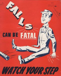Poster representing a worker falling