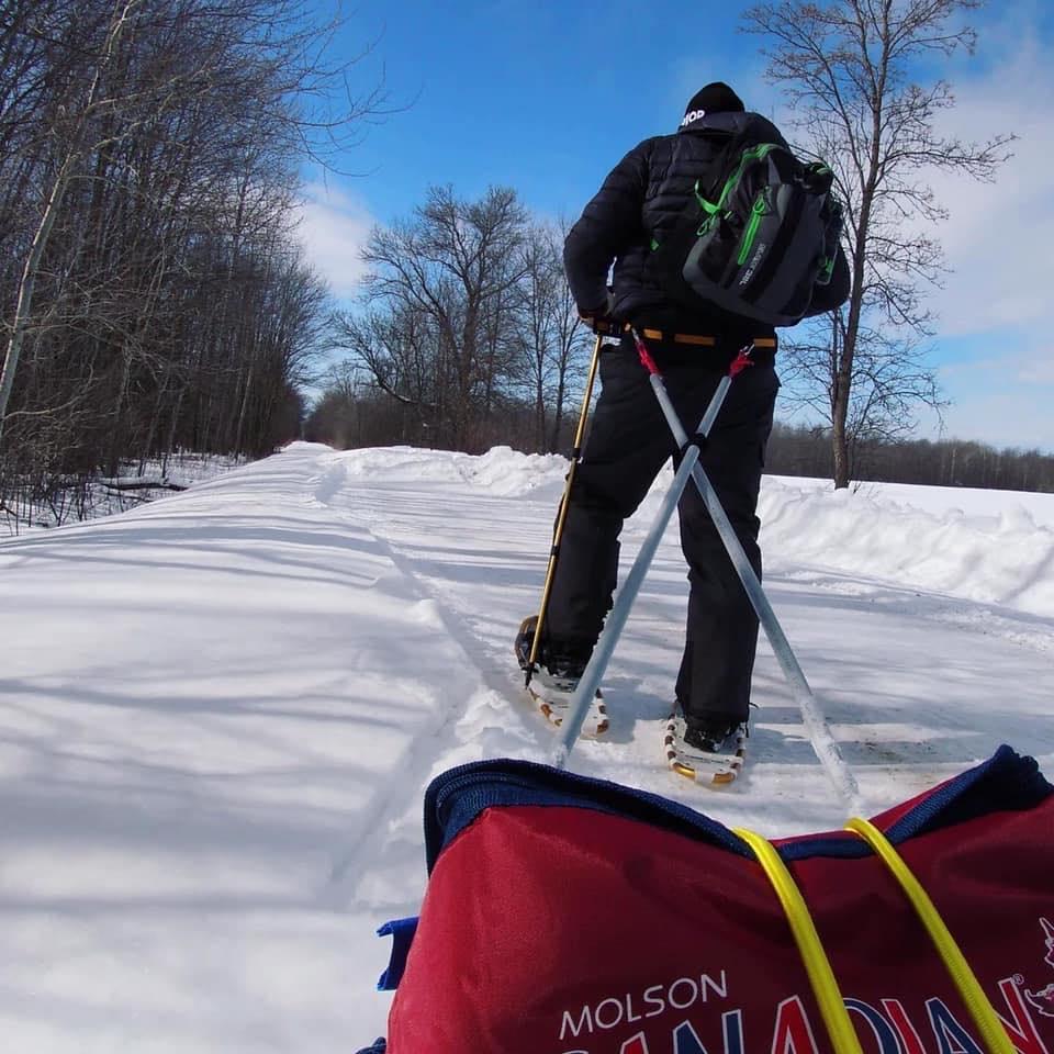 Eric snowshoeing bruce county ontario mkme media