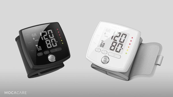 wrist blood pressure monitor, wrist BP monitor, blood pressure monitor, BP monitor, high blood pressure monitor, hypertension monitor, travel blood pressure monitor, mocacare, mocacuff