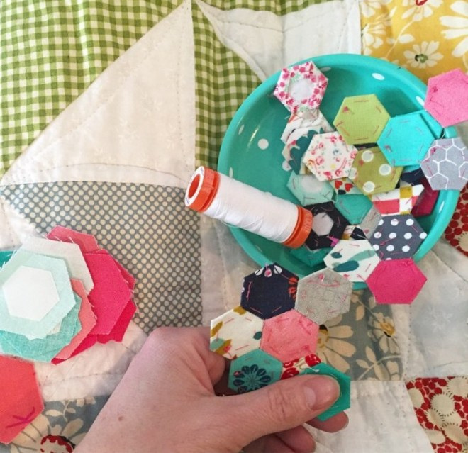 Vanessa Christensen hexies in progress