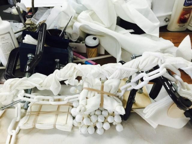 Fabric prepared for indigo dying using Itajime techniques