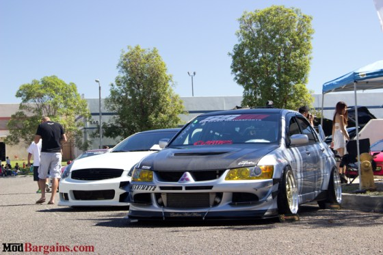 Silver Slammed and Stretched Mitsubishi Lancer Evo