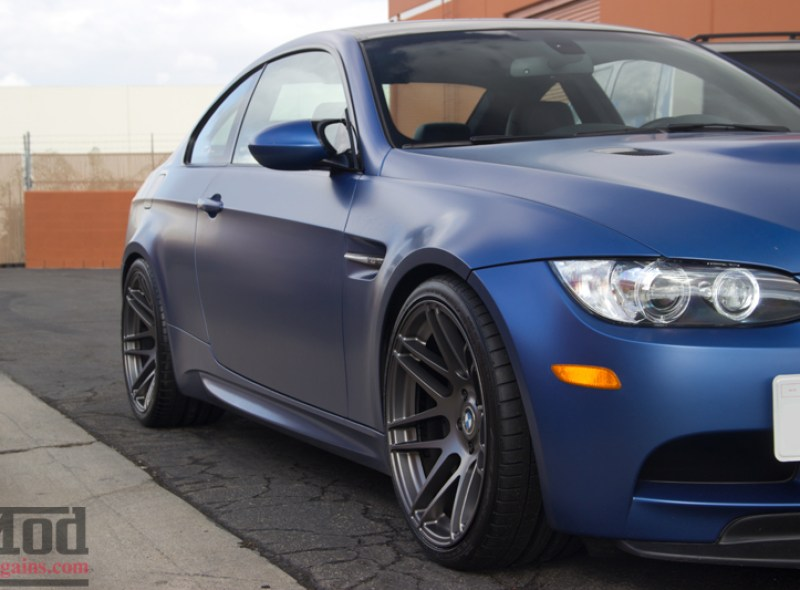 Matte Frozen Blue BMW M3 on Super Deep F14 Wheels Front Side