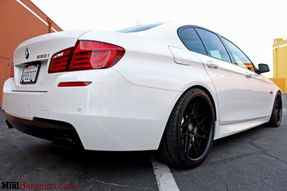 White BMW F10 550i Matte Black Wheels Rear Bumper Tail Lights