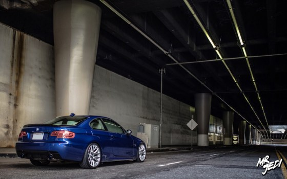 Blue 2007 BMW E92 335i Side Rear