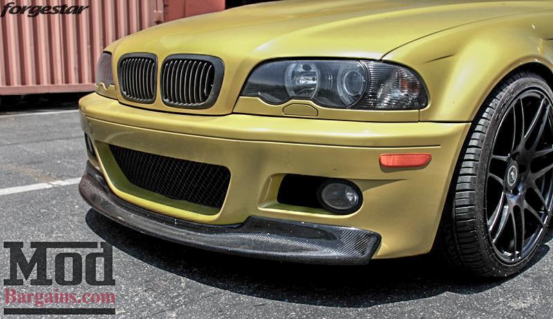 BMW E46 M3 Dakar Yellow Forgestar F14 Matte Black 19x9 19x10 (8)