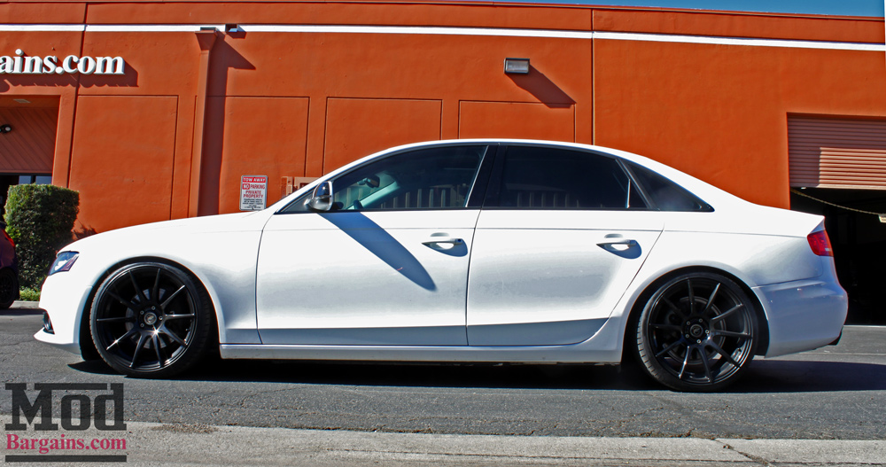Livin Low: B8 Audi A4 ST Coilovers Installed with Forgestar CF10s | Audi A4 White Black Rims |  | ModBargains' Blog