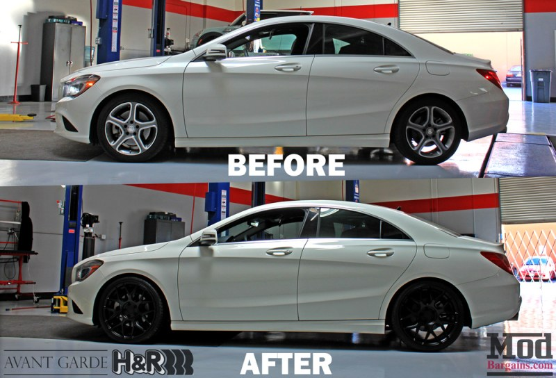 Mercedes_CLA250_HR_Springs_Avant_Garde_Black_Wheels_Before_After