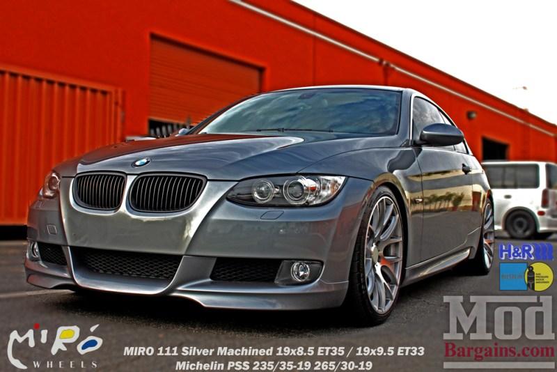 BMW_E92_328i_Gray_CF_Performance_Diffuser_BilsteinShocks_Miro_111_wheels_silver_19x85et35_19x95et33_HRSprings_img014