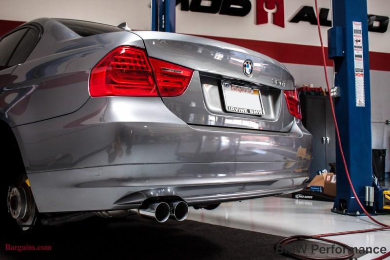 Gray BMW E90 328i Rear Bumper Exhaust