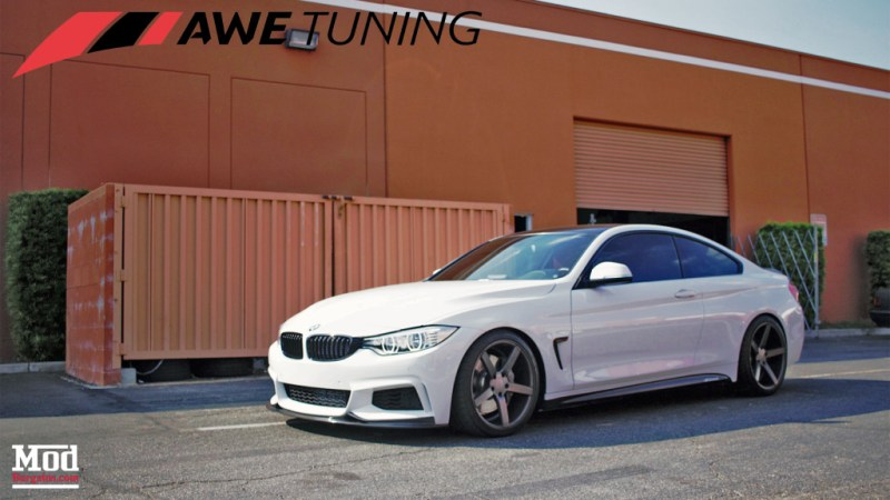 BMW 435i AWE Tuning Exhaust Side Profile Front Angle Mod Auto 2