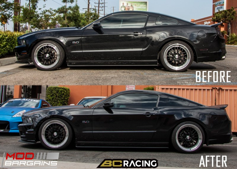 Ford Mustang GT S197 BC Coilovers Eurotek MM6 20in_before_after