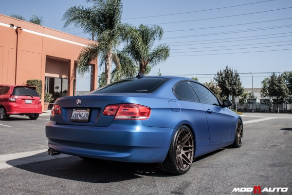 Quick Snap: Matte Blue E92 BMW 328i on Custom Bronze Forgestar F14s