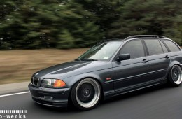 bmw e46 wagon solowerks coilovers slammed rolling shot