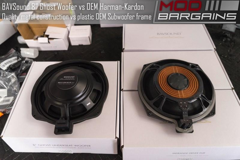 BAVSound Underseat Ghost Woofer V2 vs OEM Harman Kardon Woofer