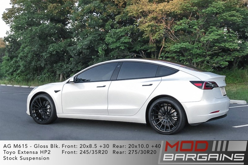 White Tesla Model 3 on Avant Garde (AG) M615 20x8.5 +30 front and 20x10 +40 rear