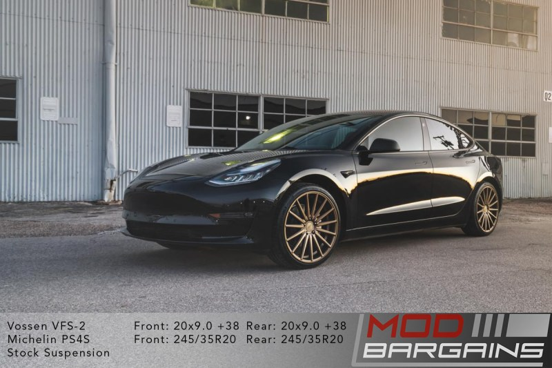Black Tesla Model 3 on Vossen VFS2 20x9 +38 front and rear