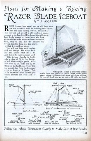 Plans For Making A Racing Razor Blade Iceboat Modern