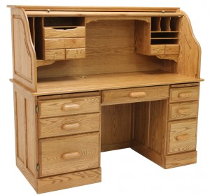 Solid Oak Rolltop Computer Desk - Made in USA