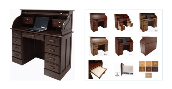 Solid oak rolltop office desk