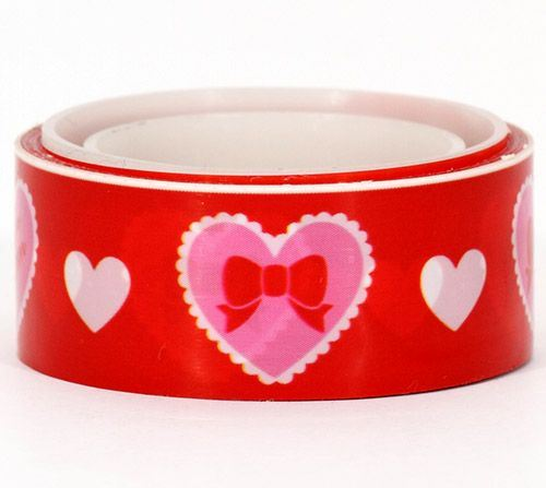 Cram Cream red hearts deco tape kawaii