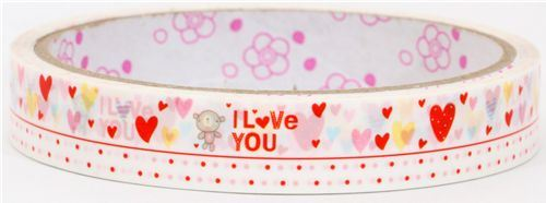 cute Deco Sticky Tape many hearts with teddy bear