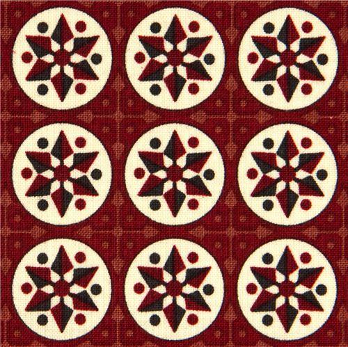 maroon Riley Blake fabric with stars and circles