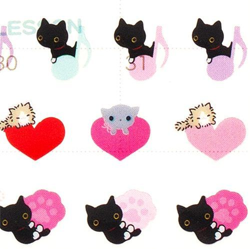 small Kutusita Nyanko calendar stickers hearts