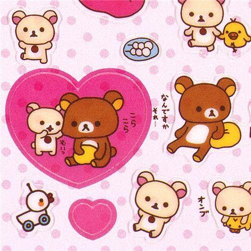 sticker set Korilakkuma white bear heart San-X