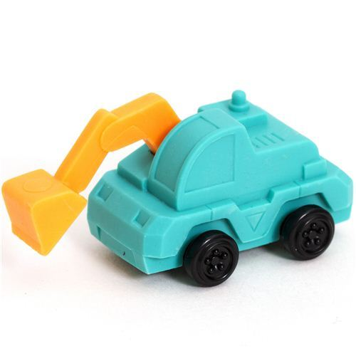 turquoise loading shovel eraser from Japan by Iwako