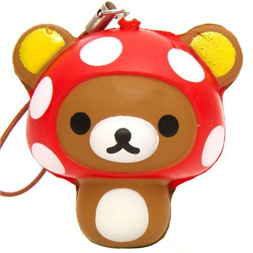 Rilakkuma bear mushroom squishy cellphone charm kawaii