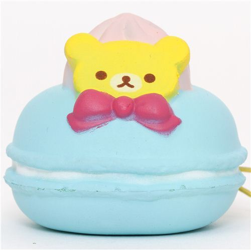 blue Rilakkuma bear macaroon squishy cellphone charm