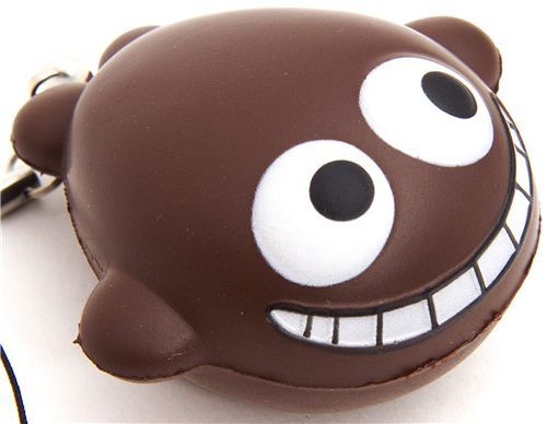 funny grinning brown whale squishy cellphone charm