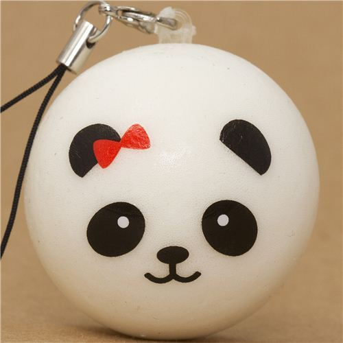 panda bear bun with red bow squishy cellphone charm