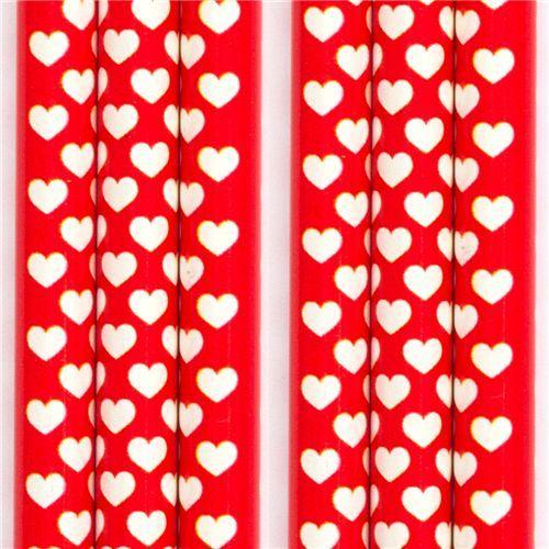 red wooden pencil white hearts Cream Cream Japan