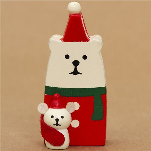 Santa Claus polar bear and white mouse Christmas card holder