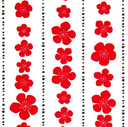 white organic fabric red flowers blossom Robert Kaufman