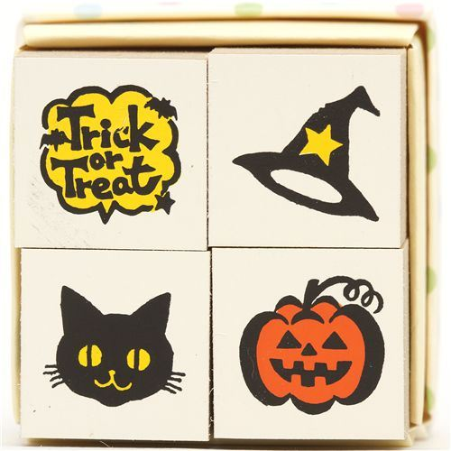 Halloween wooden stamp set 4 pieces cat pumpkin